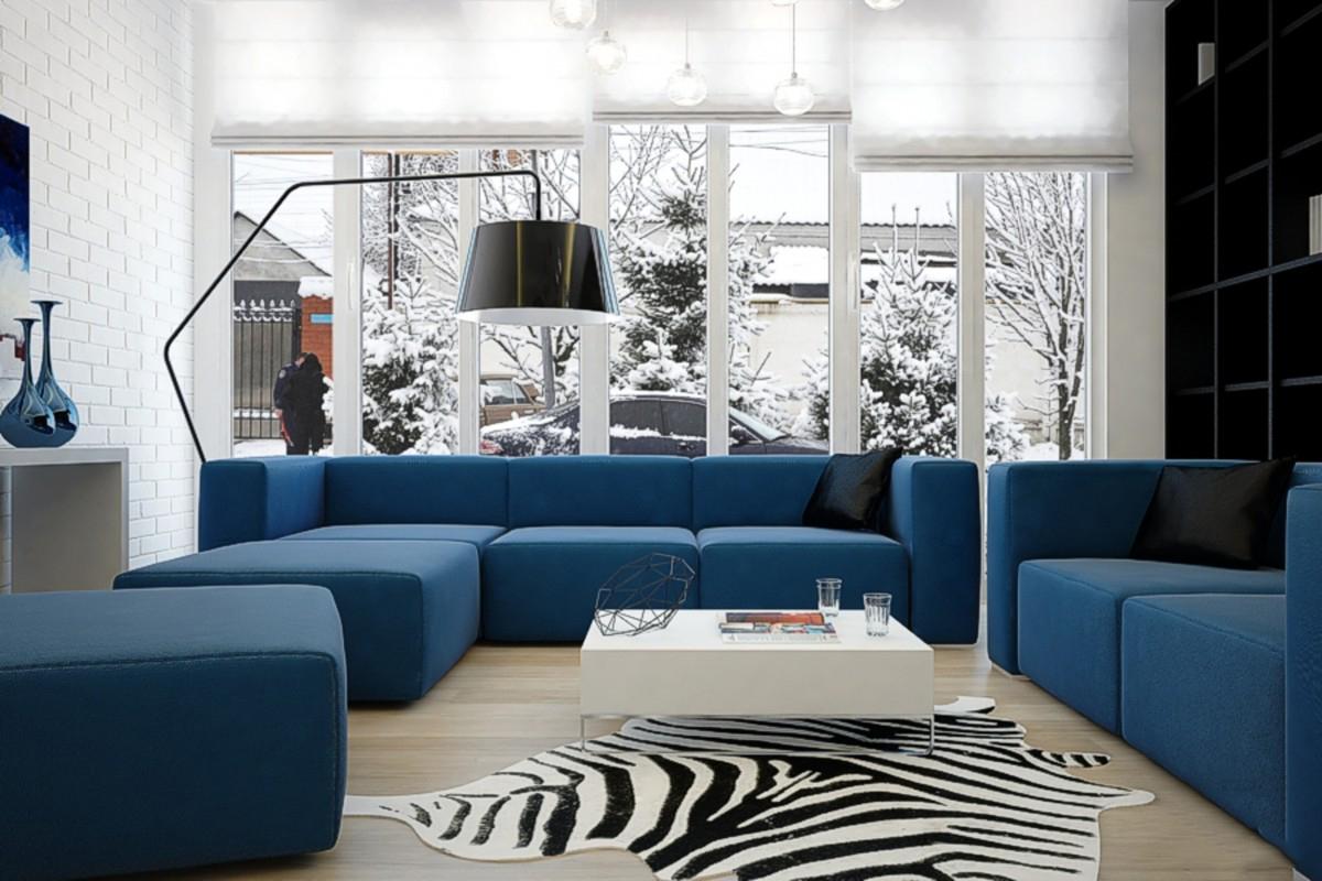 голубой диван в интерьере гостиной