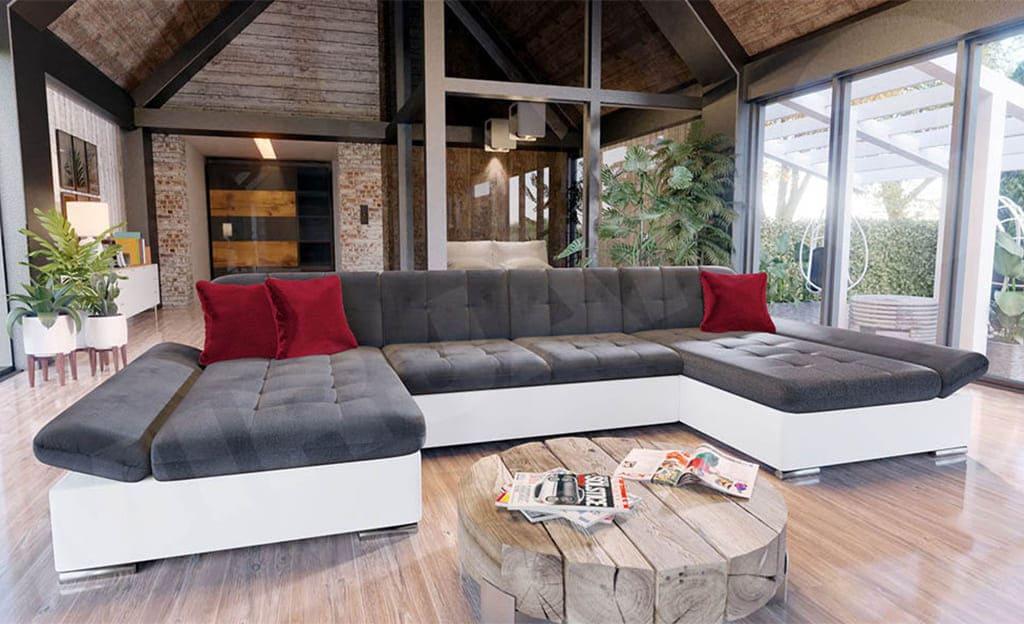 угловой диван для большой комнаты
