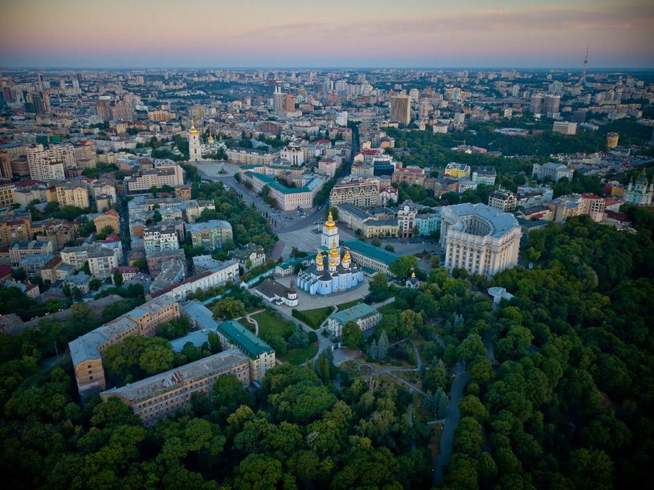 Вид на Киев с вертолета