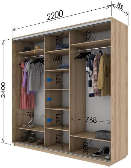 внутренняя планировка шкафа