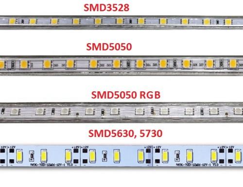Различные типы светодиодных лент