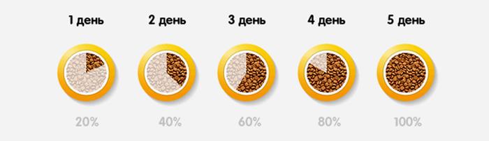 схема перевода на сухой корм