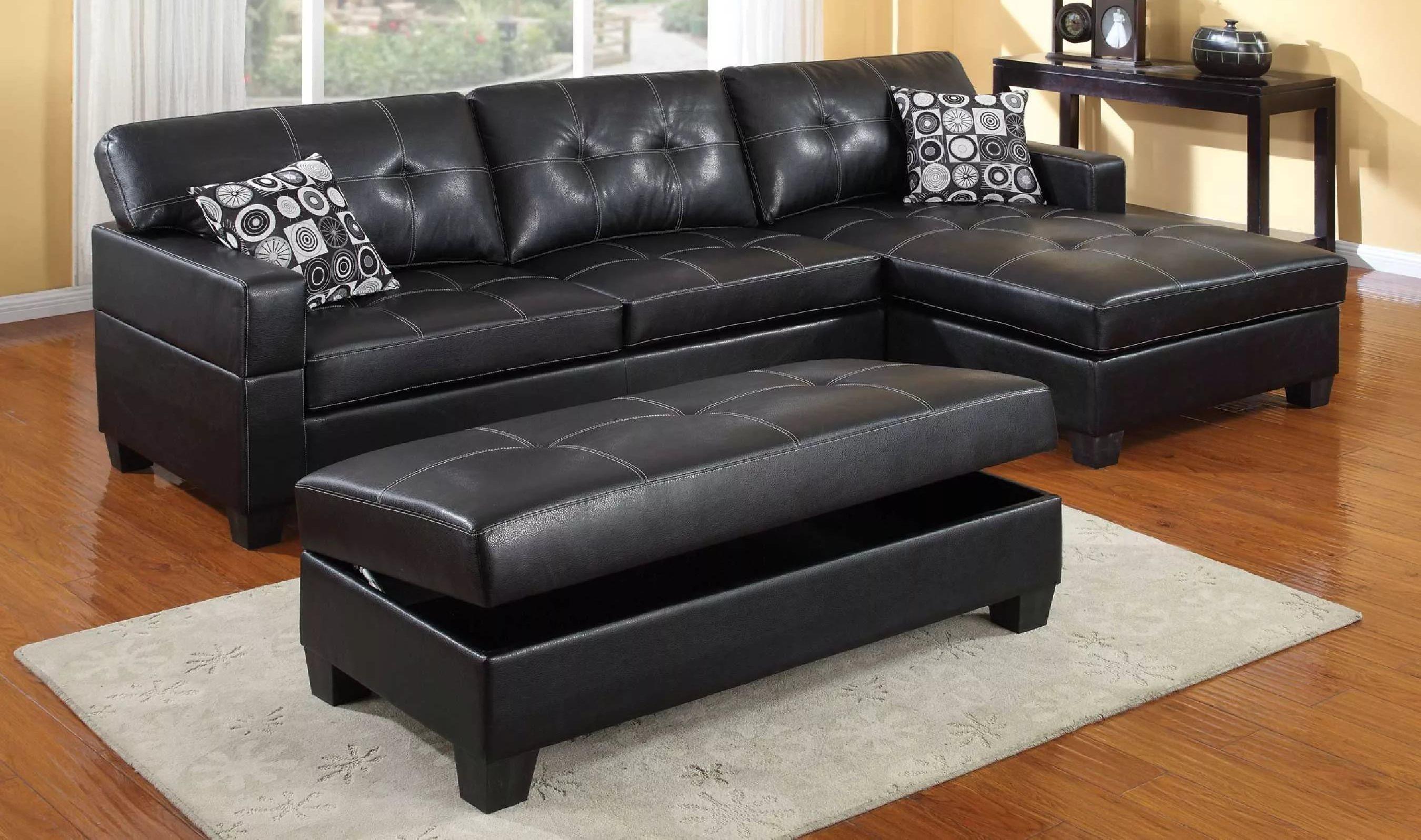 купить кожаный черный диван