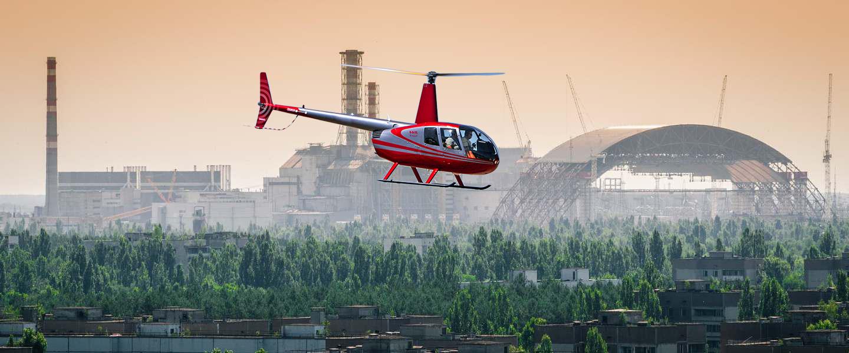 полет на вертолете Robinson r44 в Чернобыль