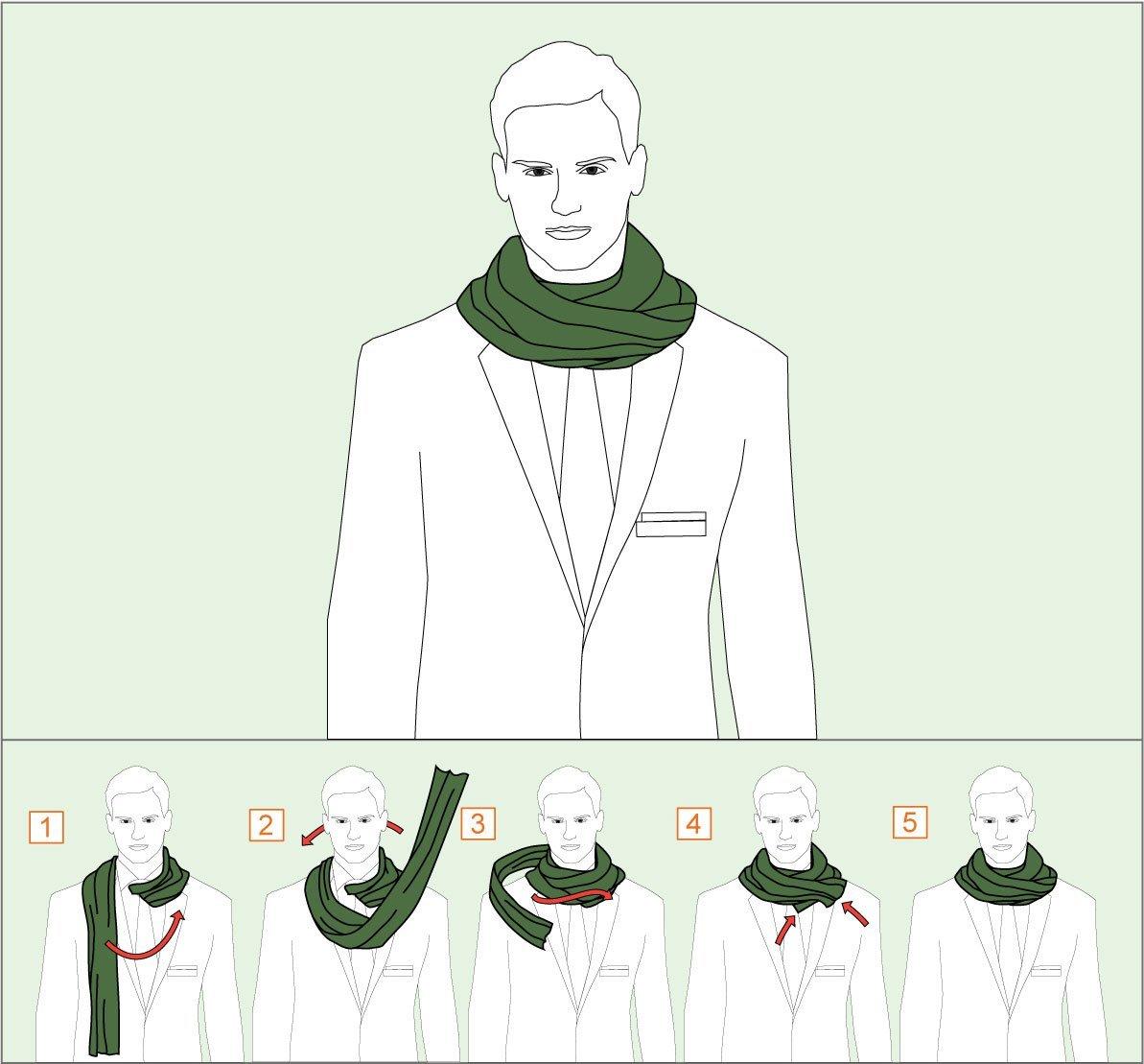 способ завязывания шарфа двойной оборот
