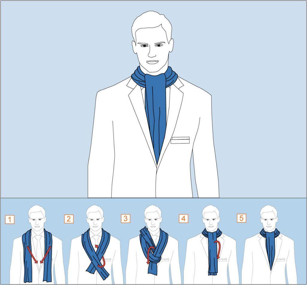 способ завязывания шарфа узел аскот