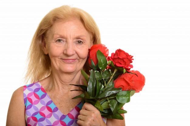 Мама с розами