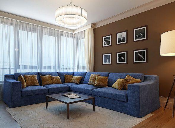 голубой диван в гостиную